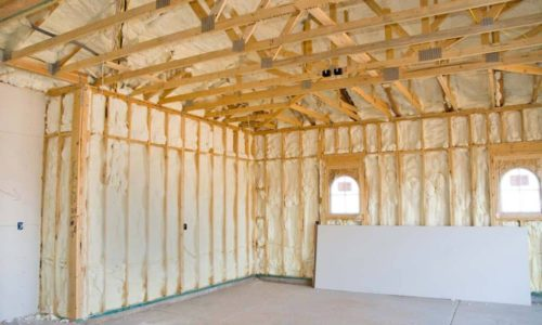 House with spray foam insulation.